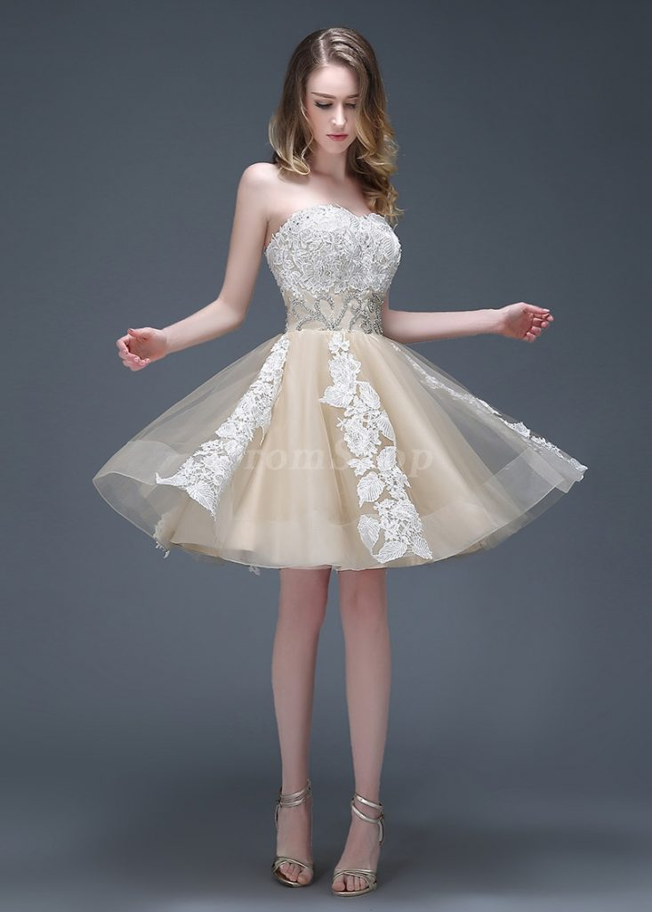 Tactile Short/Mini Natural Sleeveless Tulle Champagne Homecoming Dresses