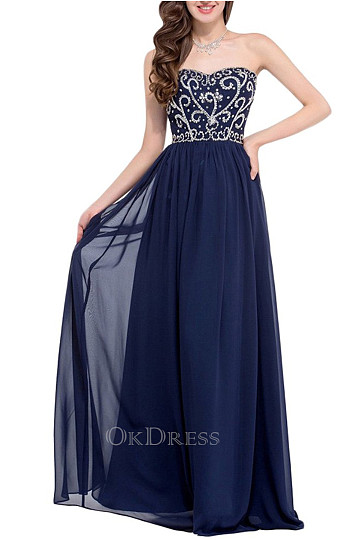 Sexy Floor-Length Dark Navy Chiffon Beading A-Line Evening Dresses
