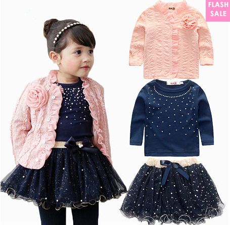 Flower Lace Ruffle Trim Outerwear Round Neck Cotton Top Sequined Lace Skirt Three-Piece Sets