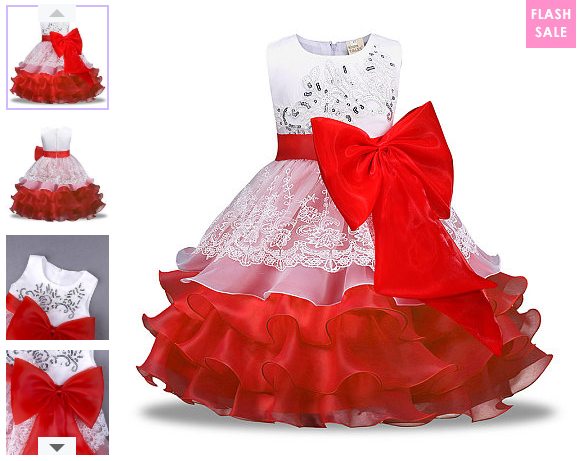 Bowknot Embellished Floral Tiered Tulle Princess Dress