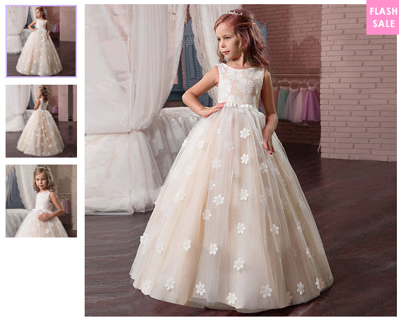 Flower Applique Floor Length Sleeveless Princess Dress