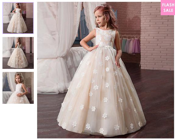 Flower Applique Floor Length Sleeveless Princess Dress