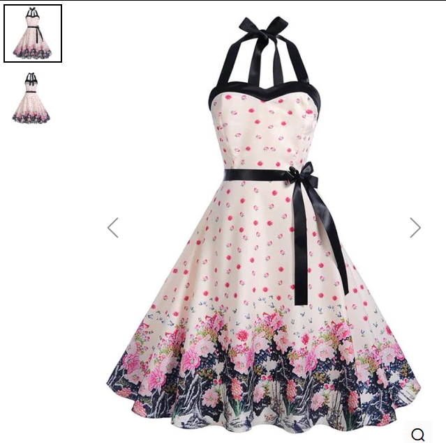 Halter Floral Print A Line Dress