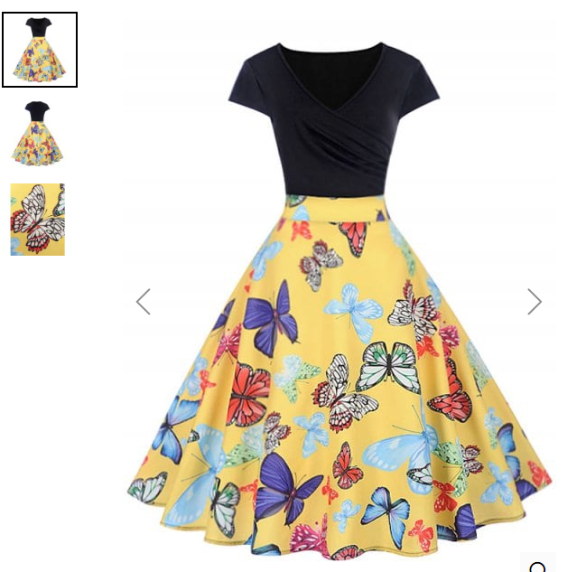 Butterfly Print Wrap Flare Dress