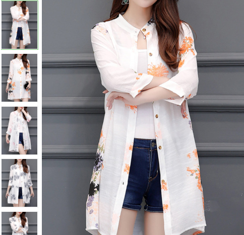 Cotton And Linen Printed Long Sleeve Cardigan